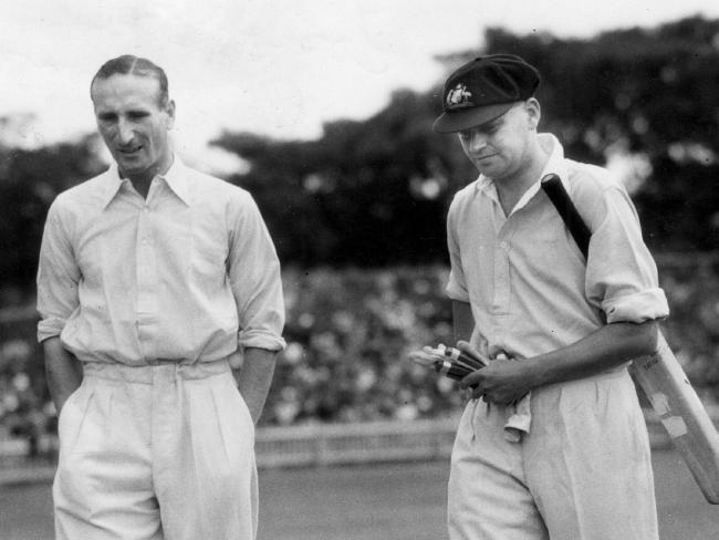 England captain Douglas Jardine with Australia's Bill Woodfull during the Bodyline series.