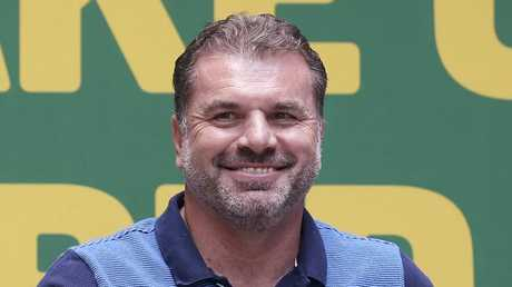 Socceroos coach Ange Postecoglou at a public reception for the team in Sydney on Thursday.
