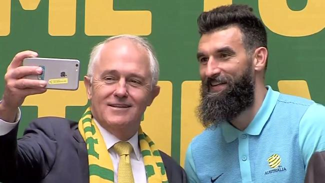 Prime Minister Malcolm Turnbull and Mile Jedinak.