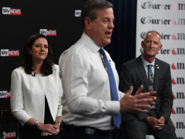 Premier Annastacia Palaszczuk and One Nation leader Steve Dickson watch as Opposition Leader Tim Nicholls addresses the audience at the Sky News-Courier-Mail People's Forum. Picture: Dan Peled/AAP