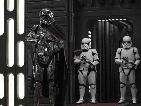 Captain Phasma (Gwendoline Christie) and Stormtroopers in a scene from the movie Star Wars: The Last Jedi.