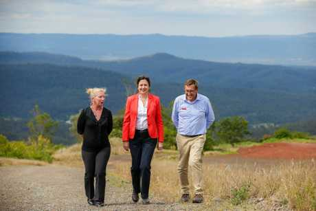 GARDEN VIEW: Premier Annastacia Palaszczuk inspects the potential site of the Quarry Gardens with ALP Toowoomba South candidate Susan Krause and ALP Toowoomba North candidate Kerry Shine.