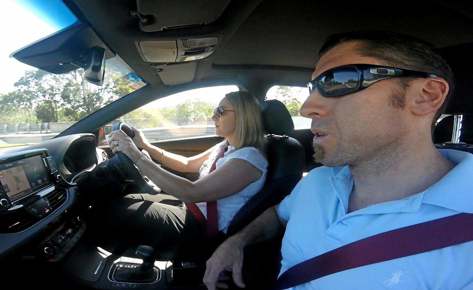 Kelly and Grant Edwards test driving the Hyundai i30 SR Premium.