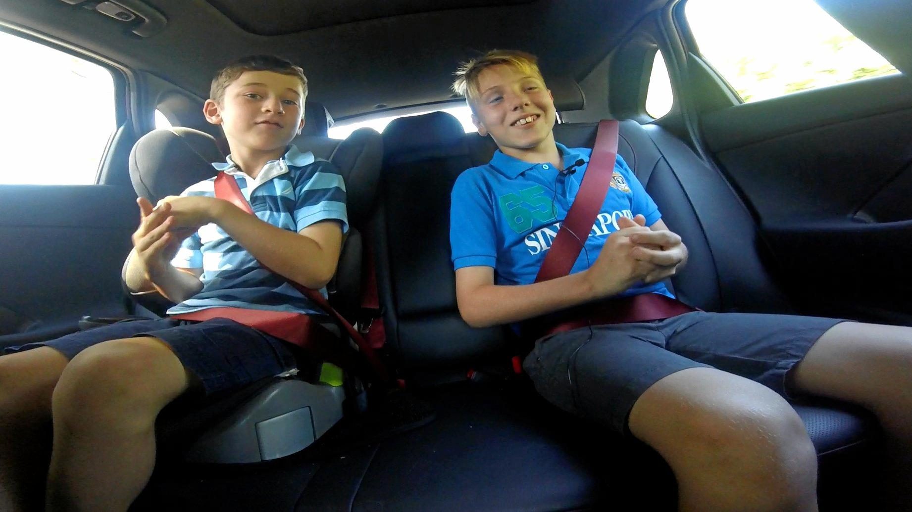 Lucas (left) and Bailey Edwards in the back of the Hyundai i30 SR Premium.