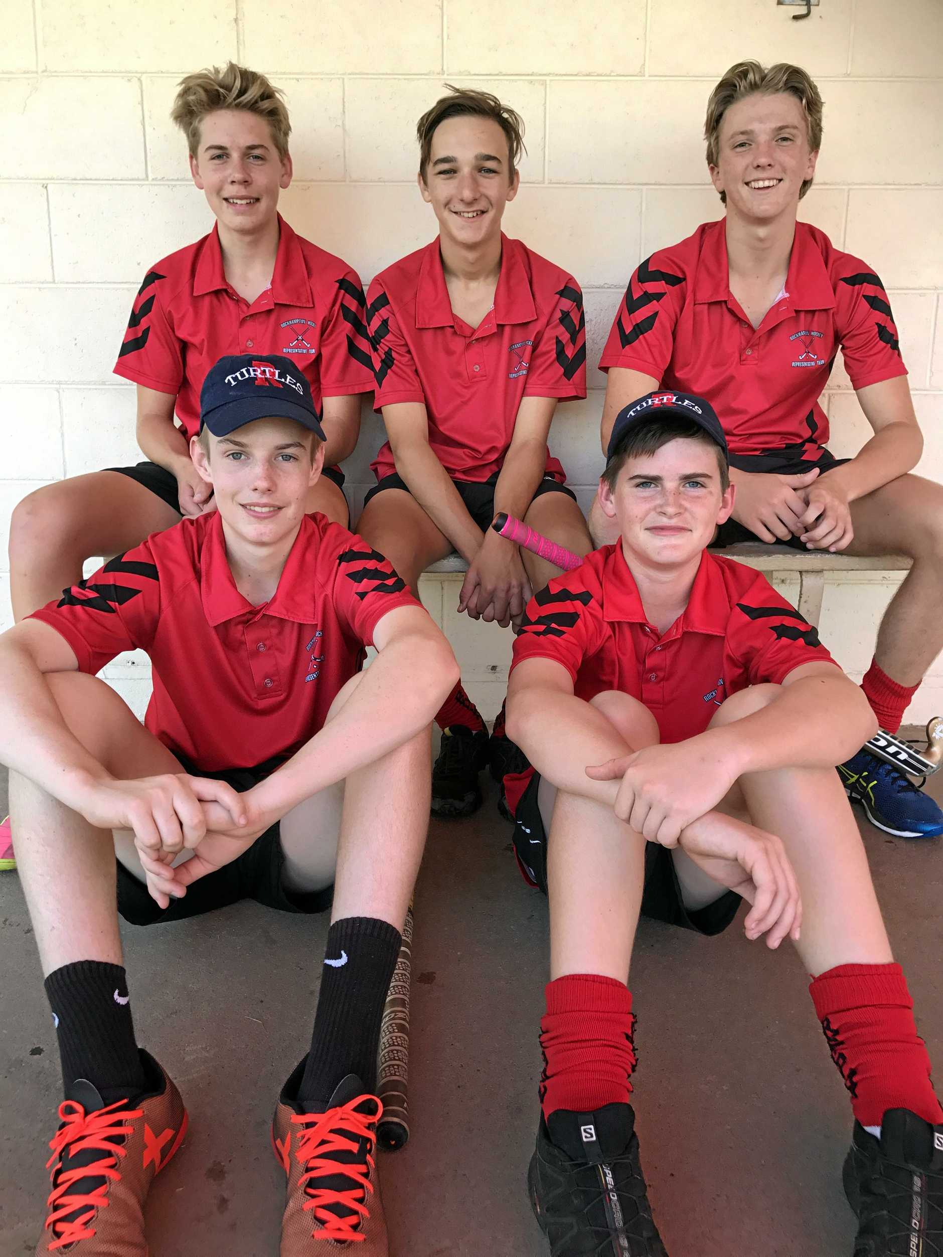Members of the Rockhampton under-15 boys indoor hockey team (back row, from left) Riley O'Hanlon, Lachlan Plant, Sean McDonald, and (front row) Callum White and Dylan Quinlan. Absent are Nathan Moffatt, Hayden Pease and Will Howland.