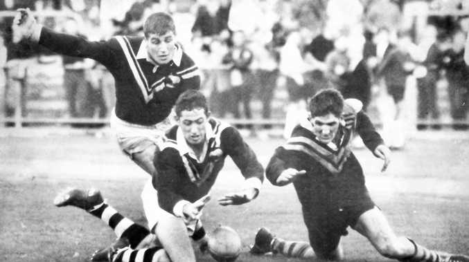 John McDonald (right) in a rugby league Test appearance against New Zealand.