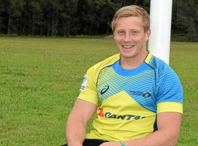 Locky Miller sporting the Australian colours he wore playing for the national rugby sevens team in Fiji. 16 November 2017 Photo: Brad Greenshields/Coffs Coast Advocate