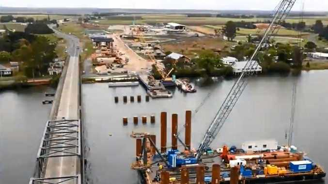 An aerial shot of the progress on the new river crossing at Harwood.