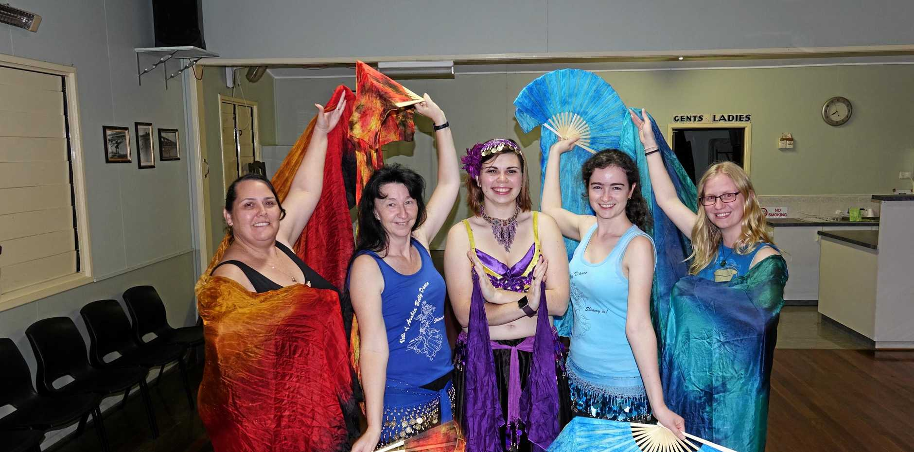 Veils of Arabia dancers (right) Leanne Tudman, Melanie Achilles, Emma Allen, Jacinta Larney and Danica Berry.