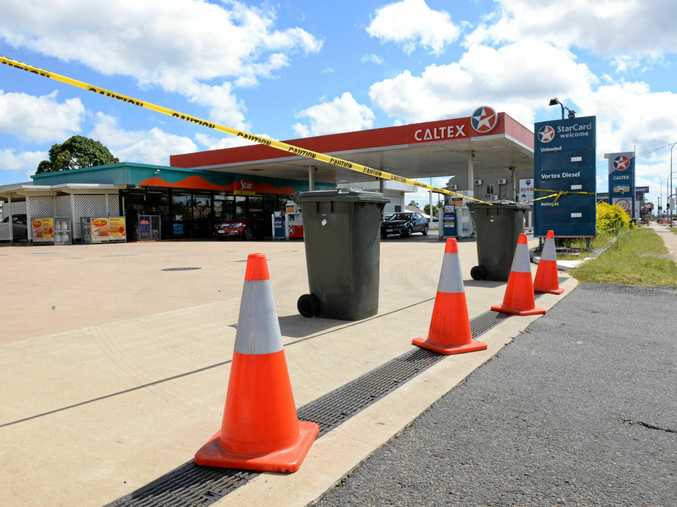 SHUT DOWN: The Caltex service station on Bourbong St was after an incident yesterday when police were called.