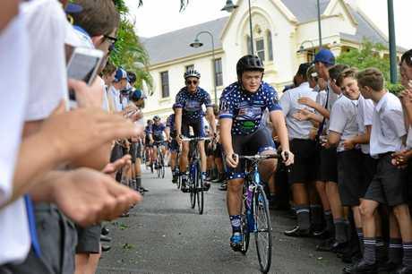 St Edmund's College student Jarred Spencer sets off on the annual St Eddies Skool to Skoolies bike ride.