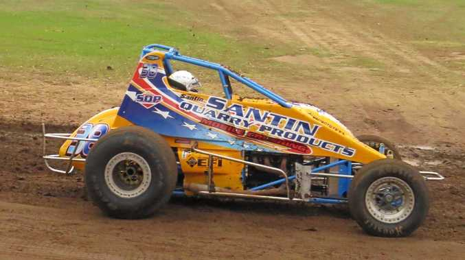 SLICK MICK: Mick Santin will be one of the contenders in the Wingless Sprintcar event at Castrol Edge Lismore Speedway tonight.
