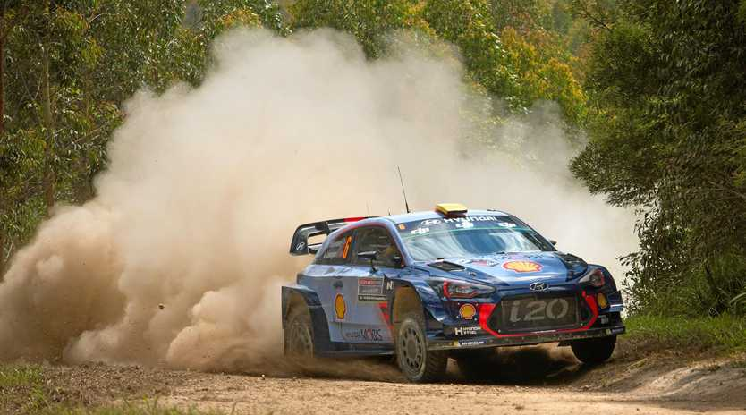 TITLE DEFENCE: Hyundai driver Andreas Mikkelsen, of Norway, currently leads the 2017 Kennards Hire Rally Australia.