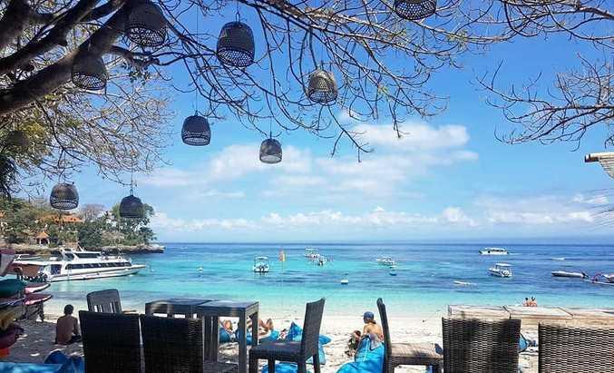 PICTURE-POSTCARD PERFECT: Beautiful ocean vistas from the Hai Tide Huts at Nusa Lembongan.