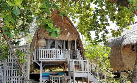 STUNNING ACCOMMODATION: The gorgeous Hai Tide Huts on Mushroom Bay at Nusa Lembongan have amazing water views and are just a few steps from the sand.