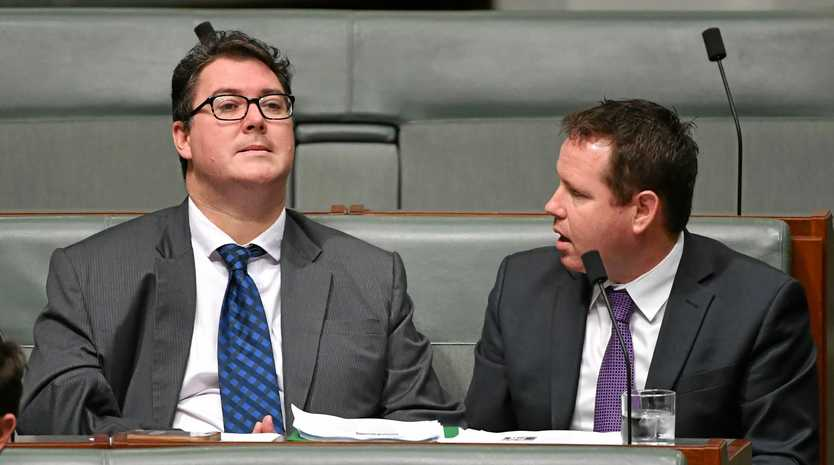 Nationals Member for Dawson George Christensen has given Malcolm Turnbull a deadline when his good behaviour will end. Here he is in September alongside Member for Mallee Andrew Broad.