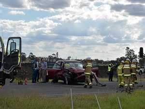 Warrego Highway closed after truck and car crash