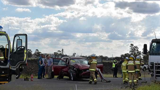CRASH: A car and truck have come together on the Warrego Highway, closing the road.