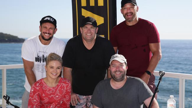 The Triple M Grill Team — Emma Freedman, Chris Page, Matty Johns, Gus Worland and Mark Geyer.