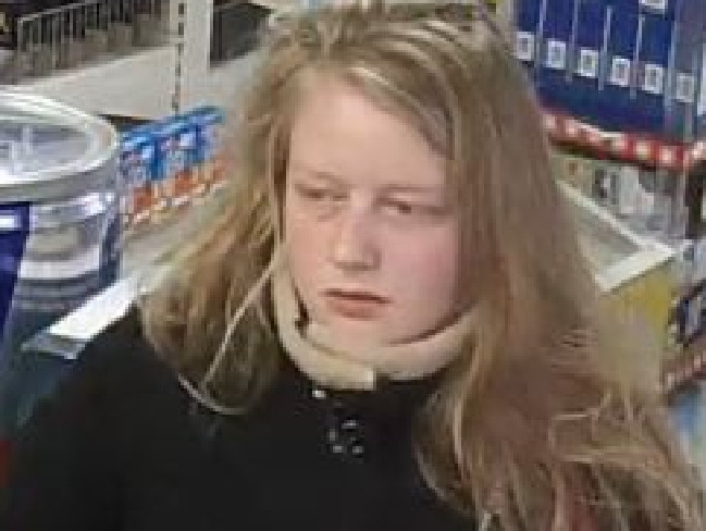 Gaia Pope at a petrol station less than an hour before she was last seen. Picture: Dorset Police.