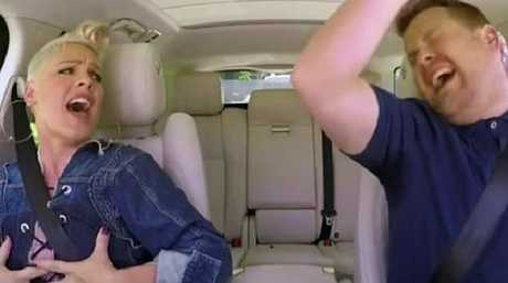 Pink and James Corden get down in Carpool Karaoke. Picture: CBS