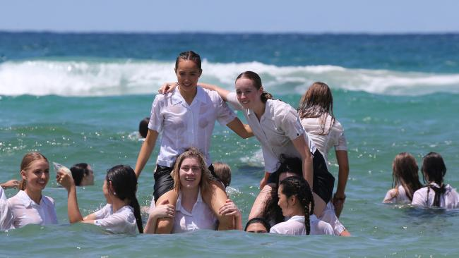 Somerset students at Burleigh Heads Beach. Picture Mike Batterham