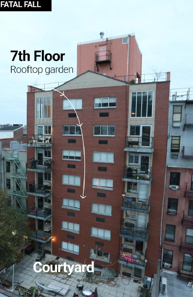 The apartment block at which Australian diplomat Julian Simpson fell to his death. Picture: News Corp
