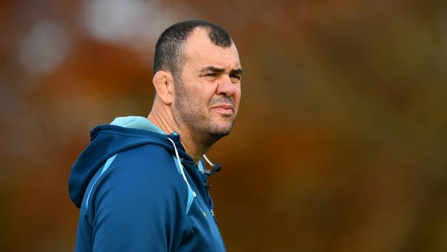 LONDON, ENGLAND — NOVEMBER 16: Michael Cheika, Head Coach of Australia looks on during a training session at the Lensbury Hotel on November 16, 2017 in London, England. (Photo by Dan Mullan/Getty Images)