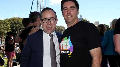 Qanats CEO Alan Joyce (left) and partner Shane Lloyd at The Yes Campaign announcement in Sydney. Picture: Jane Dempster+–-–