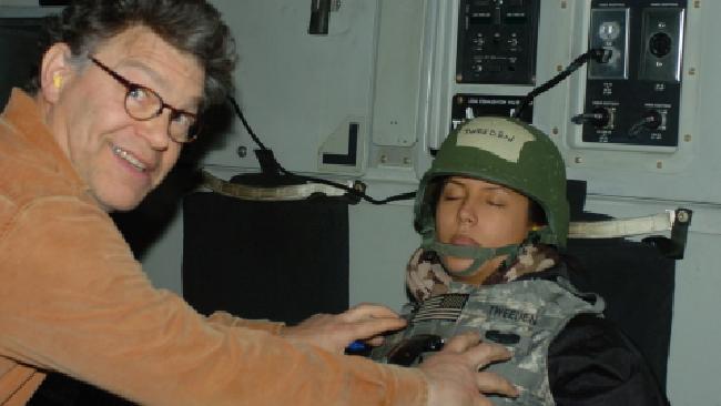 Radio announcer Leeann Tweeden with United States Senator Al Franken.