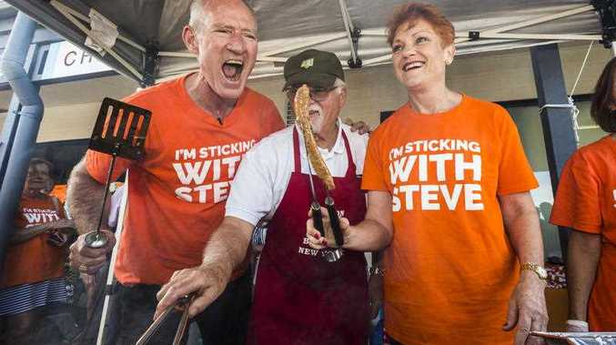 One Nation leader Senator Pauline Hanson and Queensland One Nation leader and member for Buderim Steve Dickson are seen at a barbecue with local Mike Edwards at Sippy Downs, Buderim, Queensland, Saturday, November 11, 2017.