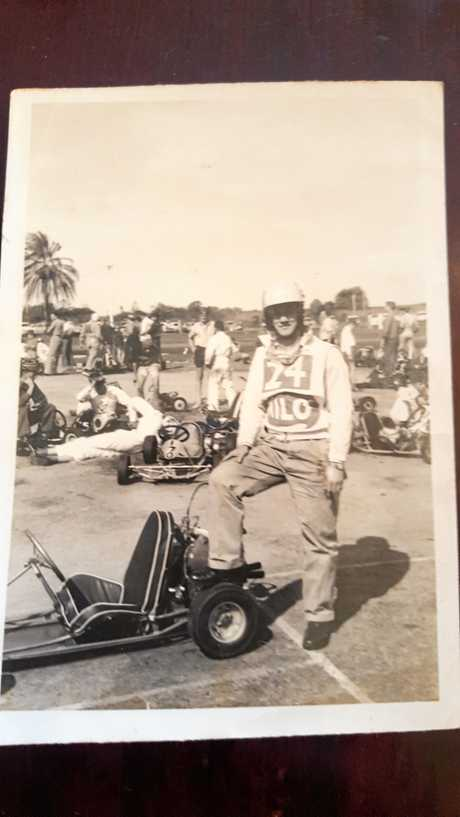 Vic Moy with his go-kart at the Glenella Raceway in the 1960s.