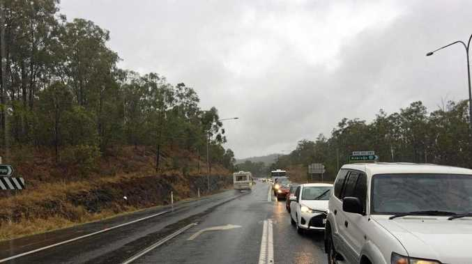 Traffic backed up on the Bruce Hwy, Gympie