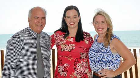 Livingstone Mayor Bill Ludwig, Member for Keppel Brittany Lauga and Tourism Minister Kate Jones at the $25million for GKI announcement