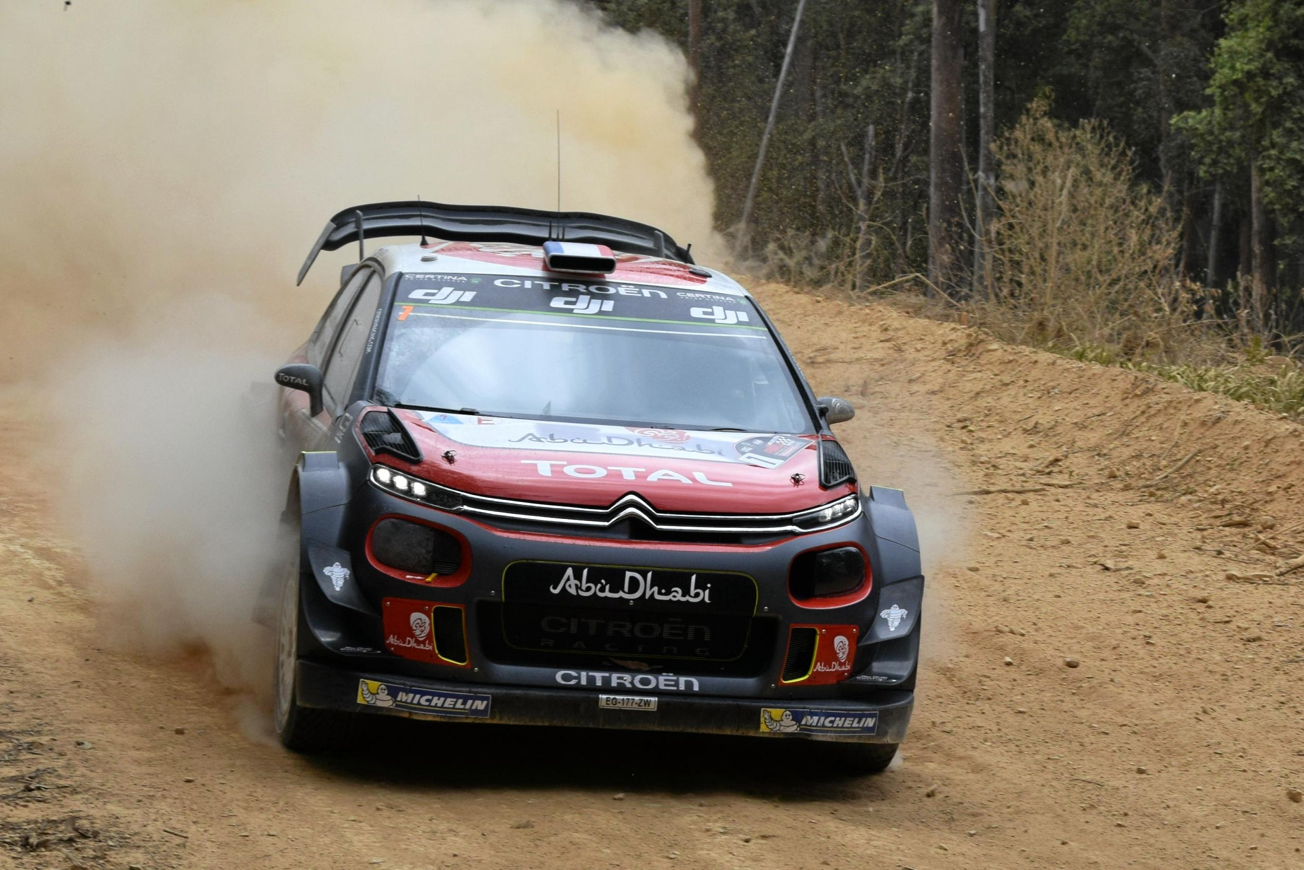 Frenchman Stephane Lefebvre behind the wheel of his Citroen C3 during the second run through the Pilbara stage on the opening day of the 2017 Kennards Hire Rally Australia. Moments after this he was pulled over on Bucca Rd for speeding.