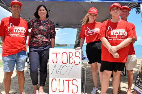 Labor candidate for Whitsunday Bronwyn Taha with her supporters at the Airlie Beach foreshore markets this morning.