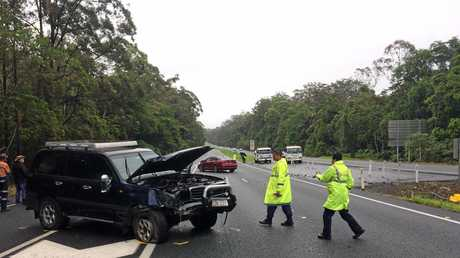 A four wheel drive involved in a three-vehicle crash on the Bruce Highway just north of the Nambour Connection Road, November 18, 2017.