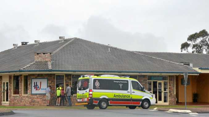 LUCKY: Brisbane cyclist Ian Chant was hit by a car outside the Horse and Jockey Hotel Motel today.