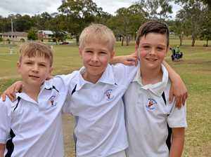 GREAT GAME: Warwick Cricket Association under 11 players (From left) Jack March, 10, Sam Cartwright, 11, and Cooper March, 10, this morning.