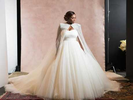 Serena Williams in her gorgeous wedding gown. Picture: Mel Barlow Photography and Allan Zepeda//Bob Metelus and Erica Rodriguez//Vogue Magazine