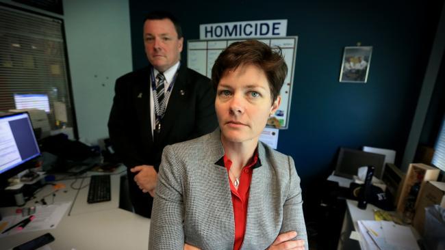 Detective Acting Sergeant Renee Hoile and Detective Inspector Damien Hansen, who broke the case open. Picture: Jamie Hanson