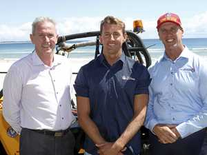 SAFE SURF: Tweed Shire Council's Stewart Brawley, Northern NSW Lifeguard co-ordinator Scott McCartney and Surf Life Saving NSW CEO Steven Pearce at Cudgen SLSC.