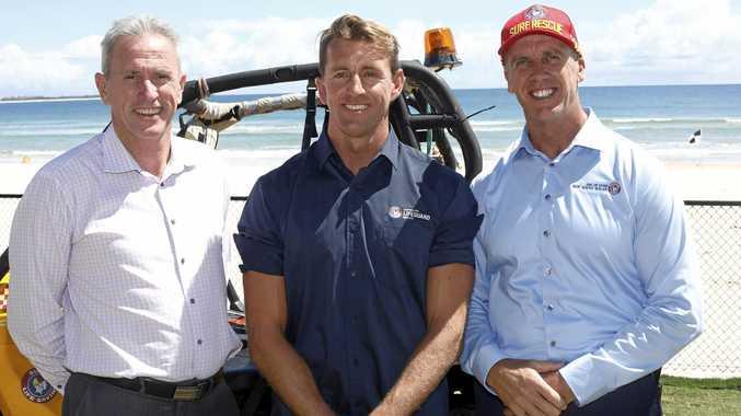 SAFE SURF: Tweed Shire Council's Stewart Brawley, Northern NSW Lifeguard co-ordinator Scott McCartney and Surf Life Saving NSW CEO Steven Pearce at Cudgen SLSC.