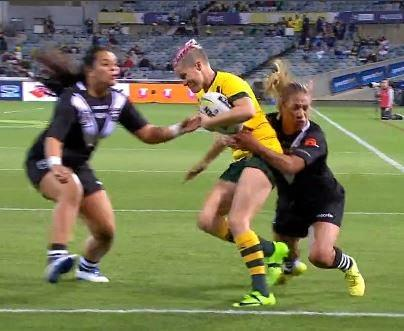Chelsea Baker prepares for heavy contact during the women's Anzac Test.