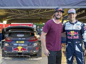 Two-wheel offroad racer and 2016 Rally Dakar winner Toby Price (AUS) meeting five-time world champion Sebastien Ogier (FRA) at M-Sport during the Saturday evening service of the FIA World Rally Championship 2017 stop 13 in Coffs Harbour, Australia, on November 18, 2017