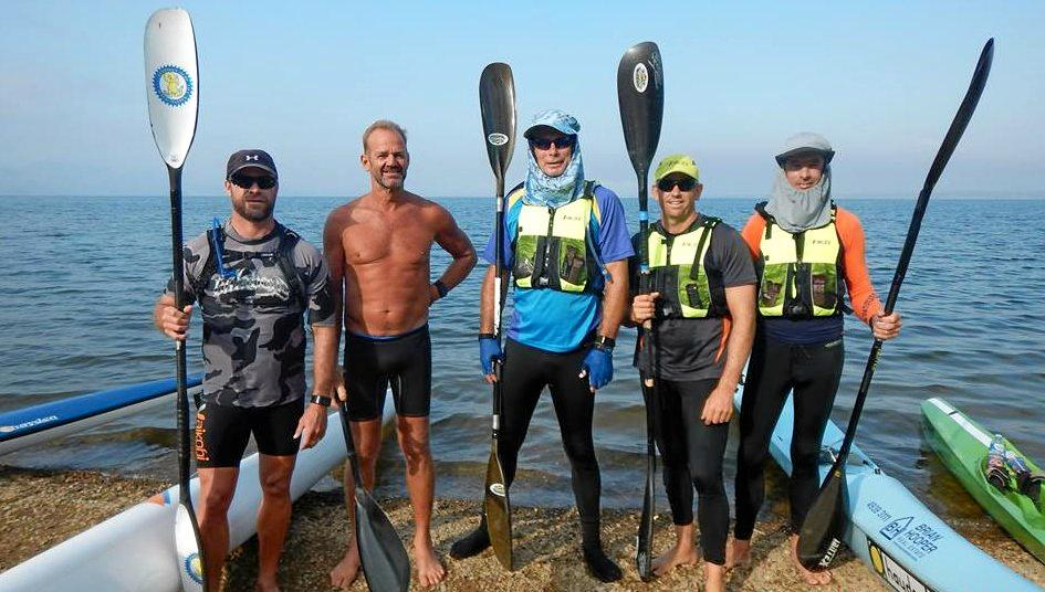 Yeppoon Surf Life Saving Club members (from left) Kevin Ohl, Mark Murray, Max Bennett, Richard Newton and Gary Wilkins at a training paddle at Lake Awoonga.