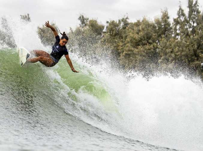 Council will assess whether an artificial reef could get the green light for Kingscliff to achieve better waves like the one Johanne Defay of France caught at the Future Classic in Lemoore.