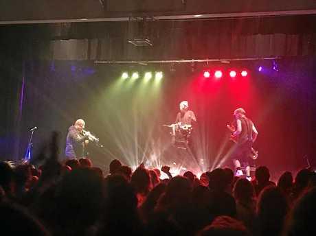 FUNK: New York City band Too Many Zooz performing at the Mullumbimby High School on Saturday night.