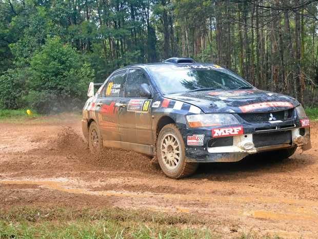Coffs Harbour driver Nathan Quinn simply had to finish all of the special stages of the 2017 Kennards Hire Rally Australia to win the Australian Rally Championship title. It was a task easier said than done thanks to wet, slippery roads like this one he faced on the Wedding Bells stage. 19 November 2017 Photo: Trevor Veale/Coffs Coast Advocate
