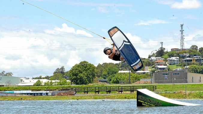 AIRBORN: Max Brotherton, 13, launches during a warm-up for the GoWake Cable Park Summer Series on Sunday.